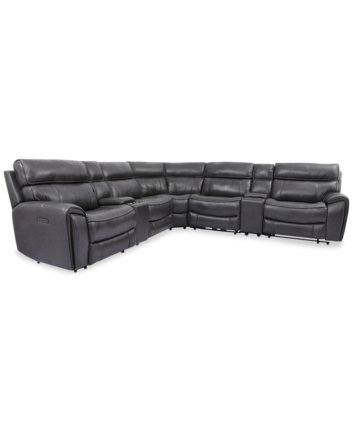 Furniture - Hutchenson 7-Pc. Leather Sectional with 2 Power Recliners, Power Headrests and 2 Consoles with USB