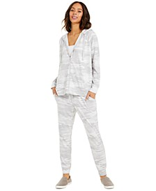 French Terry Camo Hoodie, Lace-Trim Camisole & French Terry Camo Joggers, Created For Macy's