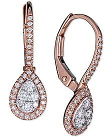 Diamond Halo Teardrop Dangle Drop Earrings (3/8 ct. t.w.) in 14k Rose Gold