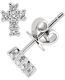 Diamond Cross Stud Earrings (1/6 ct. t.w.) in 14k White Gold