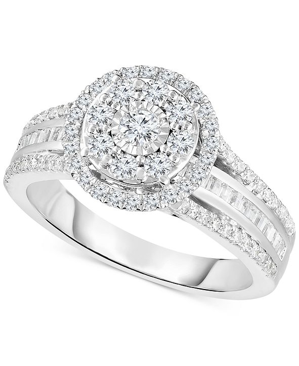 TruMiracle Diamond Halo Cluster Engagement Ring (1 ct. t.w.) in 10k White Gold
