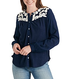 Embroidered-Yoke Cotton Top