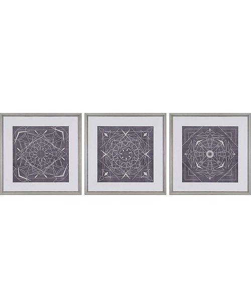 "Paragon Geometric Tile III Framed Wall Art Set of 3, 22"" x 22"""