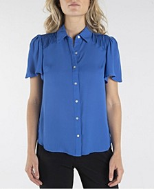 Short Sleeve Button Down with Flutter Sleeves and Pleats