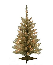 2' Pre-lit Champagne Table Top Christmas Tree