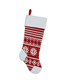 """21.5"""" Red and White Knitted Snowflake Christmas Stocking with Fleece Cuff"""