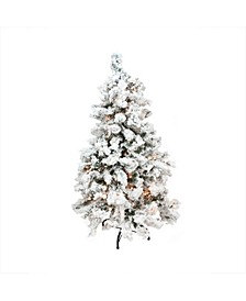 4.5' Pre-Lit Flocked Pine Medium Artificial Christmas Tree - Clear Lights