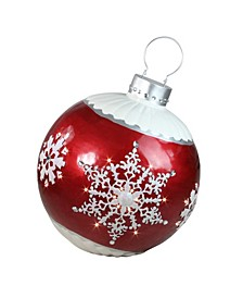 """26.5"""" LED Lighted Red Ball Christmas Ornament with Snowflake Outdoor Decoration"""