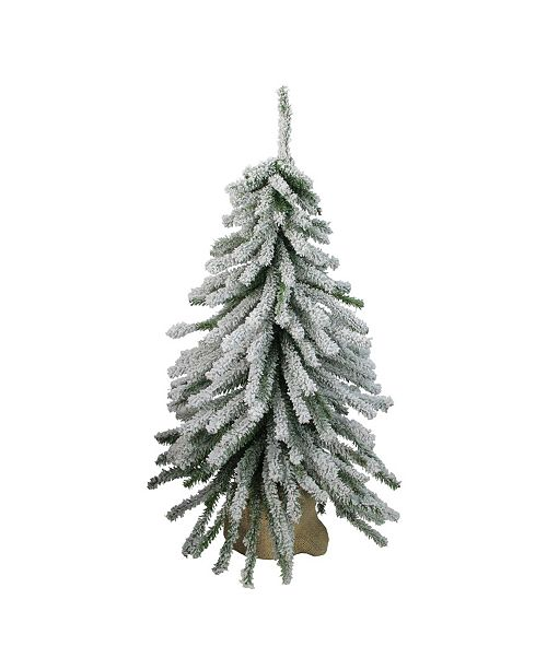 Northlight 2' Flocked Downswept Mini Village Pine Artificial Christmas Tree in Burlap Base - Unlit