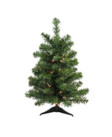 2' Pre-Lit Canadian Pine Artificial Christmas Tree - Clear Lights