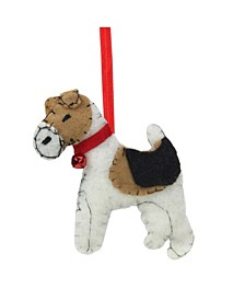"5"" Cream Black and Brown Dog Plush Christmas Ornament"