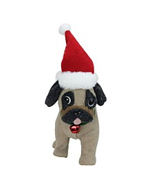 "13.25"" Plush Brown and Gray Pug Dog with Santa Hat Christmas Decoration"