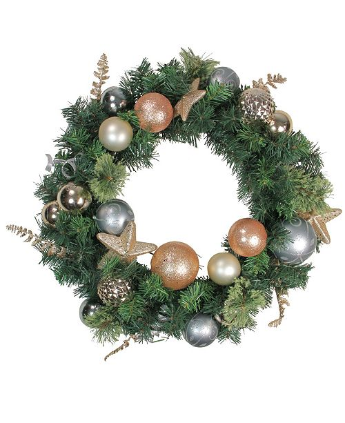Northlight Rose Gold and Silver Pine Artificial Christmas Wreath - 24-Inch Unlit