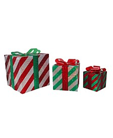 3-Piece Glistening Striped Lighted Gift Box Outdoor Christmas Decoration