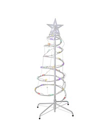 Set of 2 Multi-Color LED Lighted Spiral Cone Tree Outdoor Christmas Decorations 3' 4'