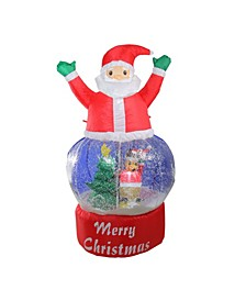 4.75' Inflatable Santa Claus Snow Globe Lighted Christmas Outdoor Decoration