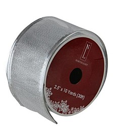 """Textured Silver Wired Christmas Craft Ribbon 2.5"""" x 10 Yards"""