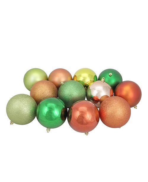 "Northlight 12ct Kiwi/Burnt Orange/Xmas Green/Almond Shatterproof 3-Finish Christmas Ball Ornaments 4"""