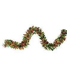 12' Green Red and Metallic Gold Wide Cut Christmas Tinsel Garland