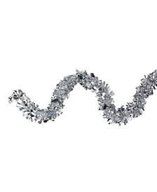 12' Shiny Holographic Silver Boa Christmas Tinsel Garland - Unlit
