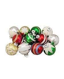"12ct Shiny Vintage Striped Glass Ball Christmas Ornaments 2.25"""