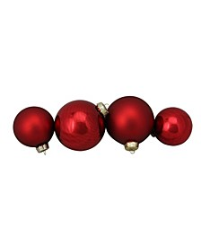 """72ct Shiny and Matte Red Glass Ball Christmas Ornaments 3.25-4"""""""