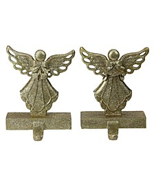 Set of 2 Gold Angel Glittered Christmas Stocking Holders 6.5""