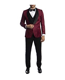 Men's Hybrid Fit Satin Shawl Collar Paisley Suit