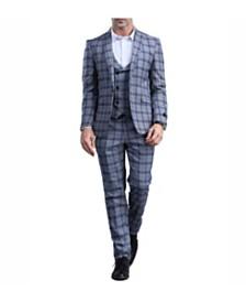 Tazio Men's Skinny Fit Plaid Peak Lapel Suit