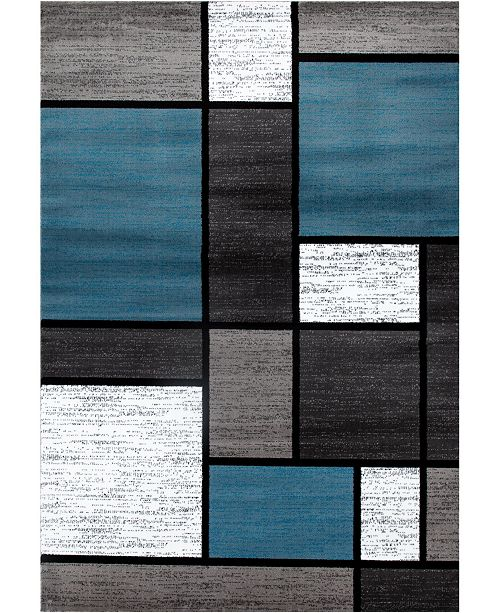 "Main Street Rugs Home Montane Mon106 Blue 6'6"" x 9' Area Rug"