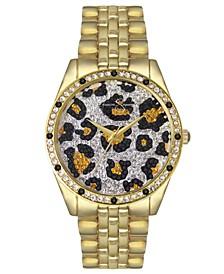 Women's Animal Print Pave Crystal Gold Tone Bracelet Watch 37mm