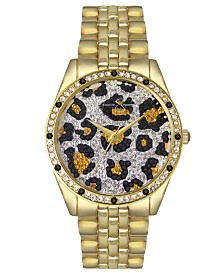 Jessica Simpson Women's Animal Print Pave Crystal Gold Tone Bracelet Watch 37mm