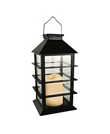 Lumabase Horizontal Solar Powered Lantern with LED Candle