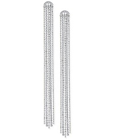 Silver-Tone Crystal Tassel Linear Drop Earrings