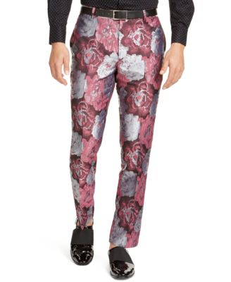 INC Men's Slim-Fit Smoked Rose Jacquard Pants, Created For Macy's