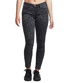 Halle Rose Print Skinny Jeans