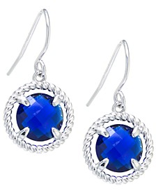 Round Crystal Wire Drop Earrings in Sterling Silver. Available in Clear, Blue, Green or Purple