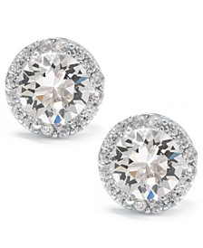 Swarovski Crystal Round Halo Stud Earrings Set In Sterling Silver. Available in Clear, Black/Clear, Blue/Clear, Light Blue/Clear or Red/Clear