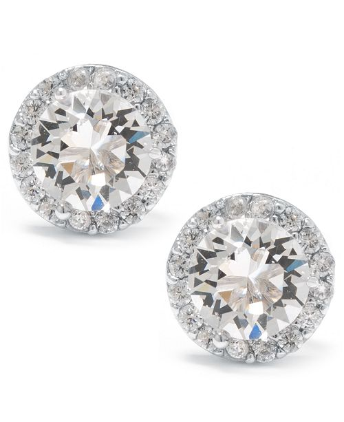 Macy's Swarovski Crystal Round Halo Stud Earrings Set In Sterling Silver. Available in Clear, Black/Clear, Blue/Clear, Light Blue/Clear or Red/Clear