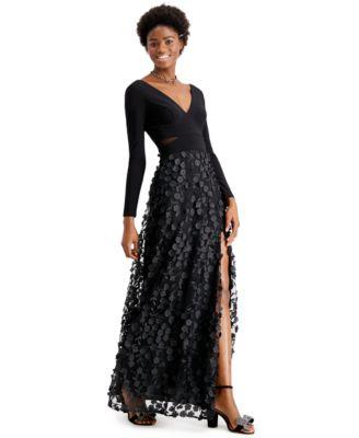 XSCAPE Mesh-Cutout Flower Gown
