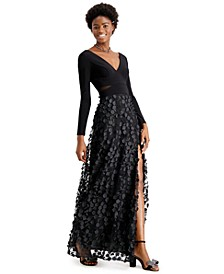 Mesh-Cutout Flower Gown
