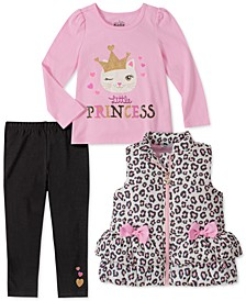 Baby Girls 3-Pc. Leopard-Print Puffer Vest, Graphic-Print T-Shirt & Leggings Set