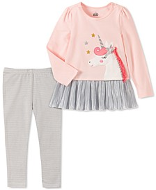Baby Girls 2-Pc. Unicorn Tunic & Striped Leggings Set
