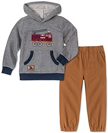 Baby Boys 2-Pc. Firetruck Hoodie & Twill Jogger Pants Set
