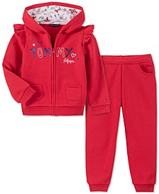 Baby Girls 2-Pc. Logo-Print Fleece Hoodie & Jogger Pants Set