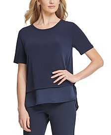 DKNY Layered-Look Crewneck Top