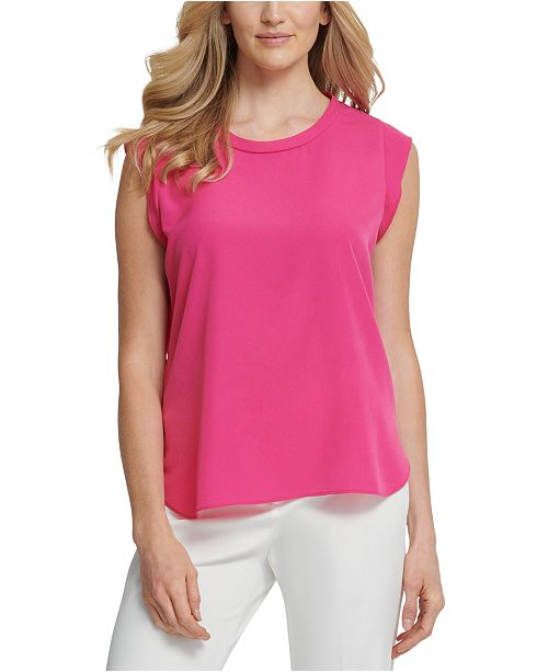 DKNY Foundation Flutter Cap-Sleeve Top