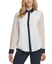 DKNY Colorblocked Blouse