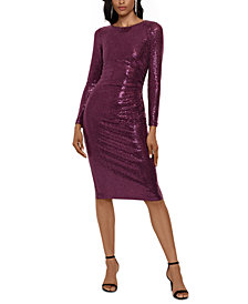 Betsy & Adam Sequined Cinched Dress
