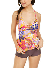 Hula Honey Juniors' Palm Play Printed Strappy Tankini Top & Boyshort Bottoms, Created for Macy's